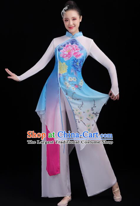 Chinese Traditional Umbrella Dance Fan Dance Printing Peony Dress Classical Dance Stage Performance Costume for Women