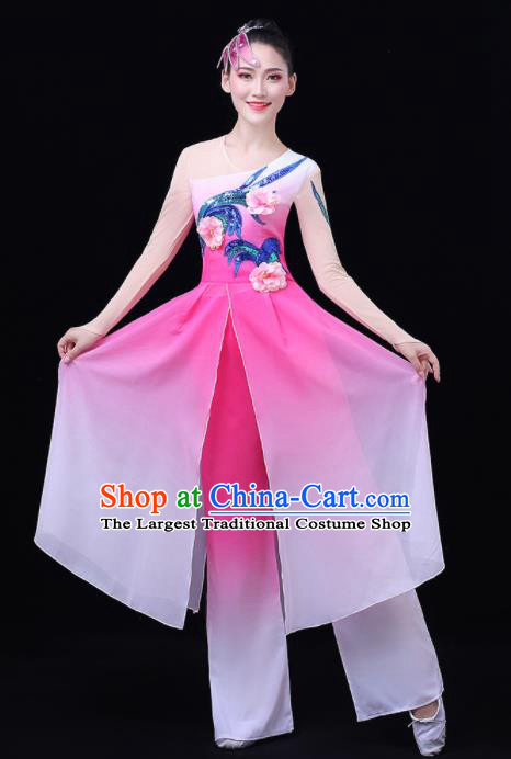 Chinese Traditional Umbrella Dance Fan Dance Pink Dress Classical Dance Stage Performance Costume for Women