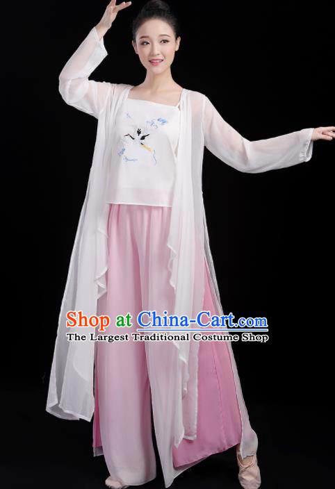 Chinese Traditional Classical Dance Fan Dance White Outfits Stage Performance Costume for Women