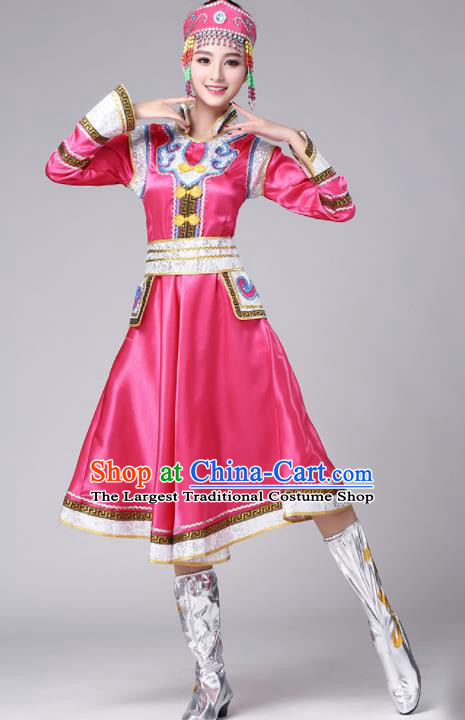Chinese Traditional Mongol Nationality Stage Show Rosy Short Dress Mongolian Ethnic Folk Dance Costume for Women