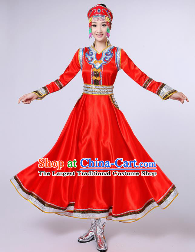 Chinese Traditional Mongol Nationality Red Dress Mongolian Ethnic Folk Dance Costume for Women