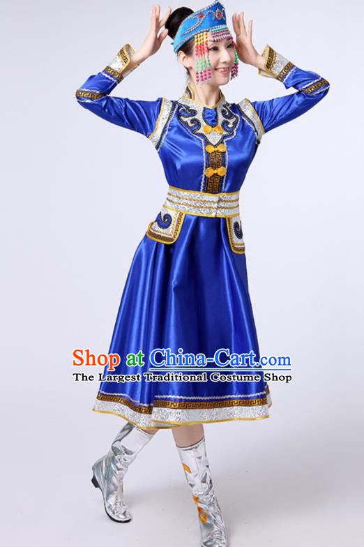 Chinese Traditional Mongol Nationality Stage Show Royalblue Short Dress Mongolian Ethnic Folk Dance Costume for Women