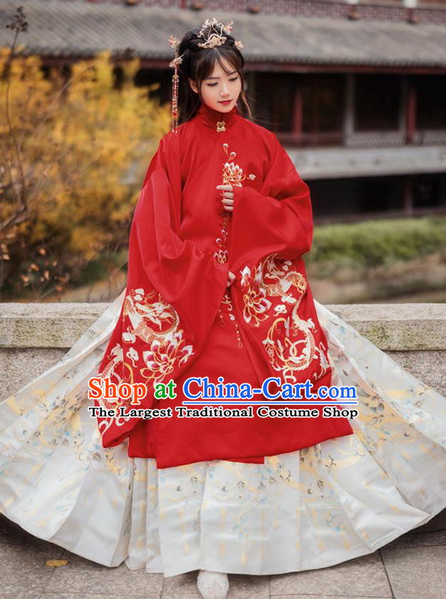 Chinese Traditional Ming Dynasty Princess Wedding Red Brocade Blouse and Skirt Ancient Palace Lady Costumes for Women