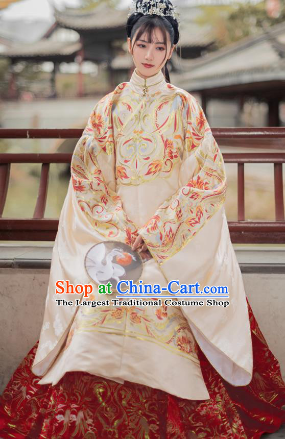 Chinese Traditional Hanfu Apricot Brocade Blouse and Red Skirt Ancient Ming Dynasty Princess Costumes for Women