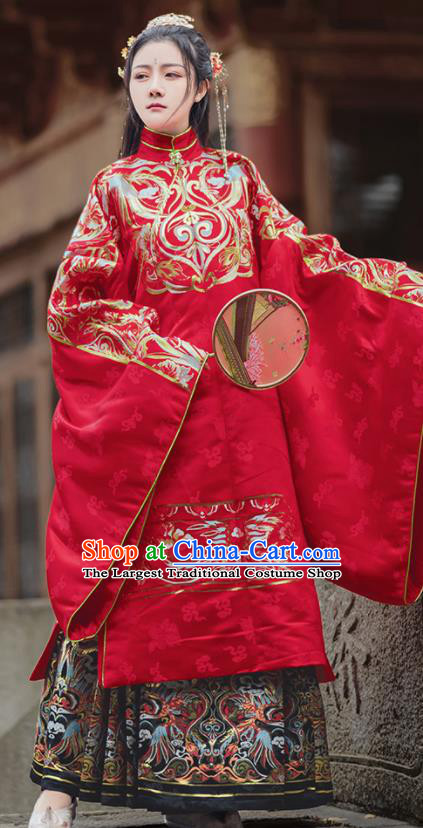 Chinese Traditional Wedding Red Brocade Blouse and Skirt Ancient Ming Dynasty Princess Costumes for Women