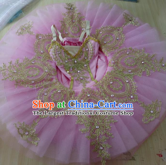 Professional Children Ballet Tutu Dance Embroidered Pink Dress Modern Dance Ballerina Stage Performance Costume for Kids
