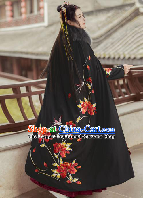 Chinese Traditional Ming Dynasty Hanfu Embroidered Peony Black Cloak Ancient Royal Princess Cape Costumes for Women