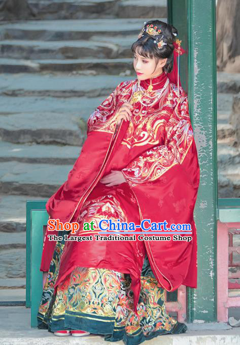 Chinese Traditional Ming Dynasty Wedding Red Hanfu Dress Ancient Royal Queen Costumes for Women