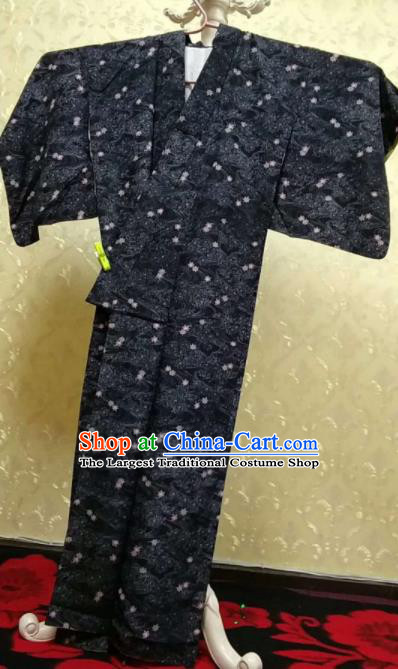 Traditional Japan Samurai Black Kimono Asian Japanese Fashion Apparel Yukata Costume for Men