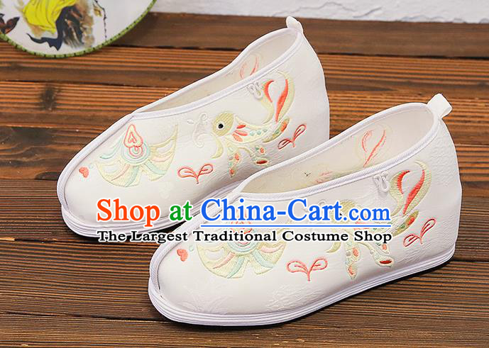 Asian Chinese Traditional Embroidered Bird White Shoes Princess Shoes Opera Shoes Hanfu Shoes for Women