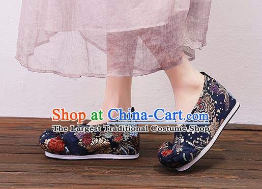 Asian Chinese Traditional Navy Satin Embroidered Shoes Princess Shoes Opera Shoes Hanfu Shoes for Women