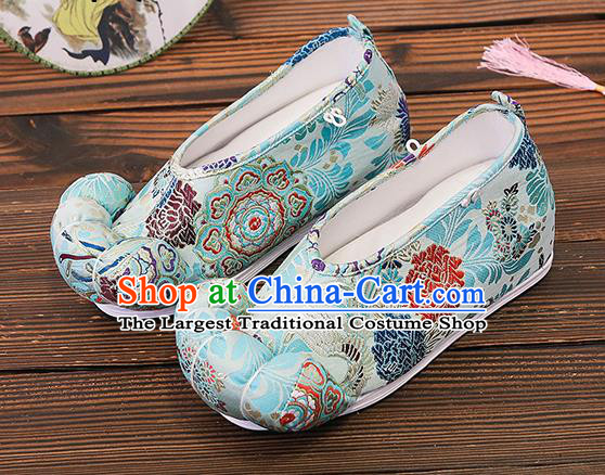 Asian Chinese Traditional Light Blue Satin Embroidered Shoes Princess Shoes Opera Shoes Hanfu Shoes for Women