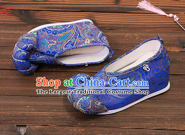 Asian Chinese Traditional Blue Satin Embroidered Shoes Princess Shoes Opera Shoes Hanfu Shoes for Women