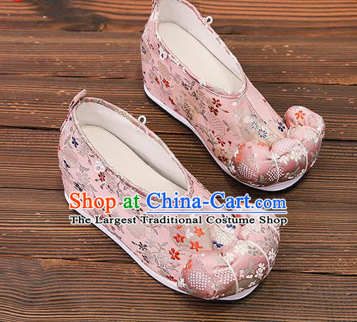 Asian Chinese Traditional Pink Satin Embroidered Shoes Princess Shoes Opera Shoes Hanfu Shoes for Women