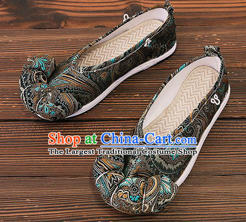 Asian Chinese Traditional Black Satin Embroidered Shoes Princess Shoes Opera Shoes Hanfu Shoes for Women