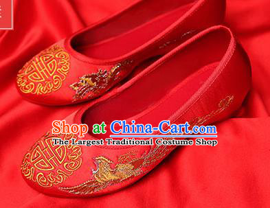 Chinese Traditional Red Embroidered Phoenix Shoes Opera Shoes Hanfu Shoes Wedding Shoes for Women
