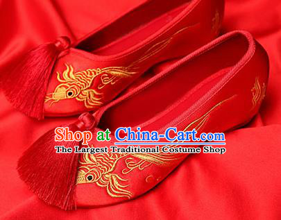 Chinese Traditional Red Embroidered Carp Shoes Opera Shoes Hanfu Shoes Wedding Shoes for Women