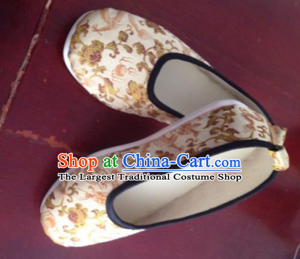 Asian Chinese Traditional Wedding Beige Satin Shoes Princess Shoes Opera Shoes Hanfu Shoes for Women