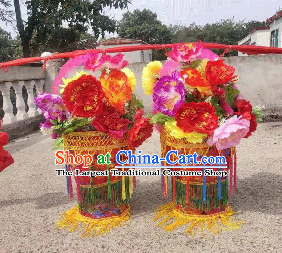 Chinese Traditional Opera Prop Lantern Festival Folk Dance Flower Baskets