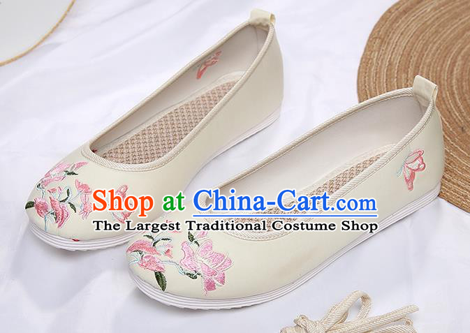 Chinese Traditional Beige Embroidered Flowers Butterfly Shoes Opera Shoes Hanfu Shoes Wedding Shoes for Women