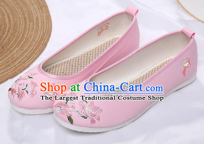 Chinese Traditional Pink Embroidered Flowers Butterfly Shoes Opera Shoes Hanfu Shoes Wedding Shoes for Women