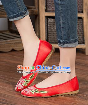 Chinese Traditional Embroidered Chrysanthemum Red Shoes Opera Shoes Hanfu Shoes Satin Shoes for Women