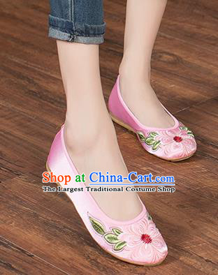 Chinese Traditional Embroidered Peach Blossom Pink Shoes Opera Shoes Hanfu Shoes Satin Shoes for Women