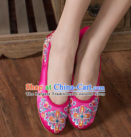 Chinese Traditional Embroidered Peach Blossom Rosy Shoes Opera Shoes Hanfu Shoes Satin Shoes for Women