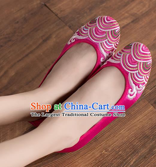 Chinese Traditional Embroidered Wave Rosy Shoes Opera Shoes Hanfu Shoes Satin Shoes for Women