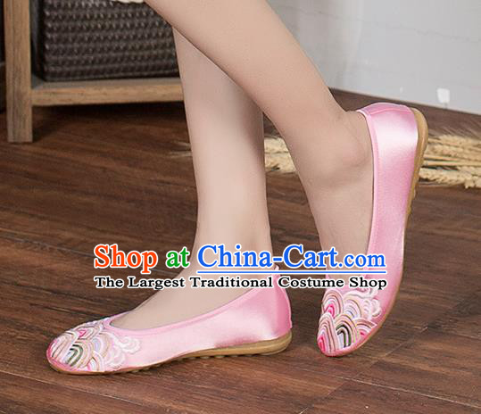Chinese Traditional Embroidered Wave Pink Shoes Opera Shoes Hanfu Shoes Satin Shoes for Women