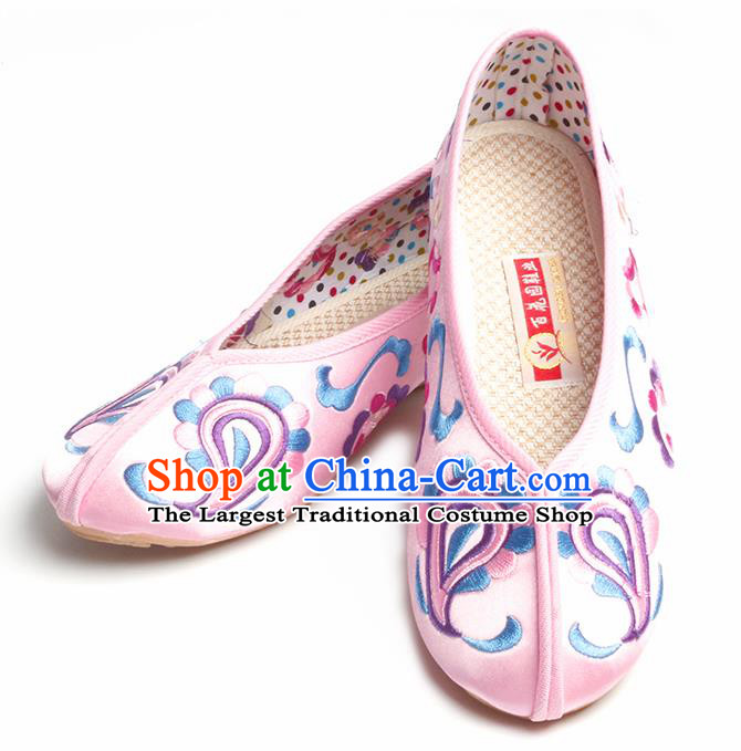 Chinese Traditional Embroidered Pink Shoes Opera Shoes Hanfu Shoes Satin Shoes for Women