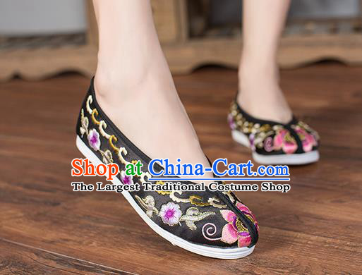 Chinese Traditional Black Satin Embroidered Shoes Opera Shoes Hanfu Shoes Wedding Shoes for Women