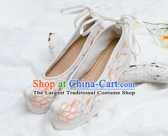 Chinese Traditional Embroidered Lotus White Shoes Opera Shoes Hanfu Shoes Wedding Shoes for Women
