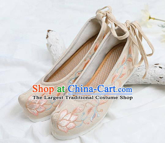 Chinese Traditional Embroidered Lotus Beige Shoes Opera Shoes Hanfu Shoes Wedding Shoes for Women