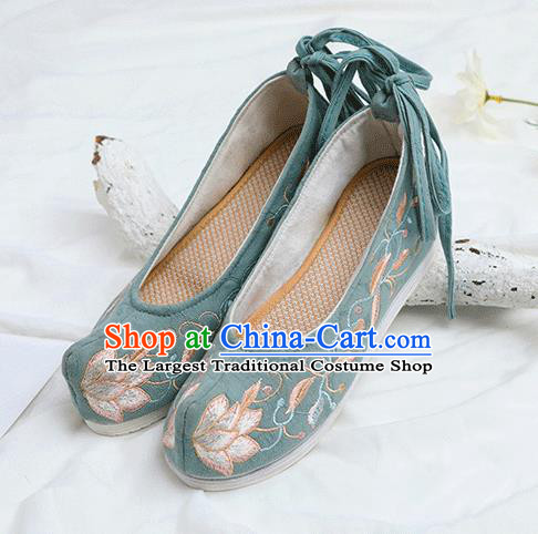 Chinese Traditional Embroidered Lotus Green Shoes Opera Shoes Hanfu Shoes Wedding Shoes for Women