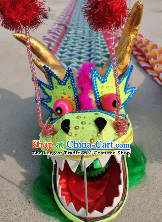 Chinese Traditional Dragon Dance Green Dragon Head Lantern Festival Folk Dance Prop