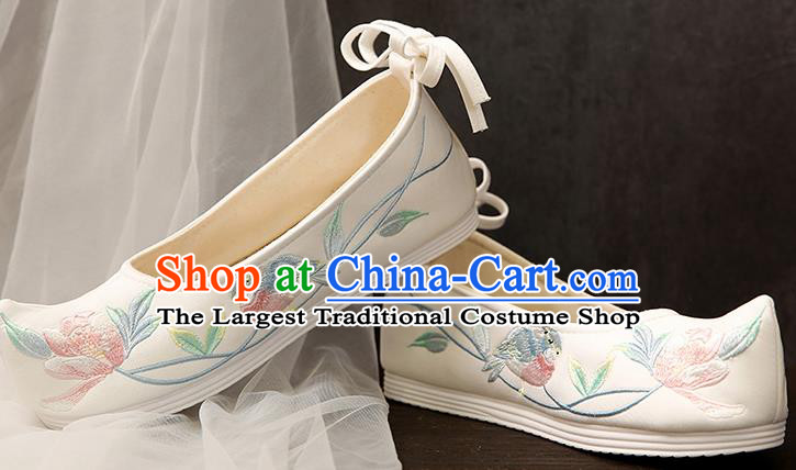 Chinese Traditional White Embroidered Shoes Opera Shoes Hanfu Shoes Wedding Shoes for Women