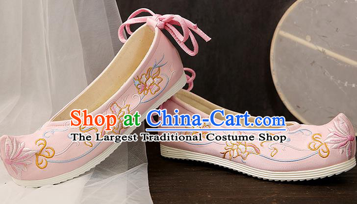 Chinese Traditional Pink Embroidered Chrysanthemum Shoes Opera Shoes Hanfu Shoes Wedding Shoes for Women