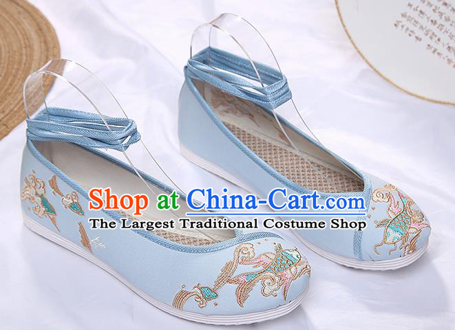 Chinese Traditional Blue Embroidered Carp Shoes Opera Shoes Hanfu Shoes Wedding Shoes for Women
