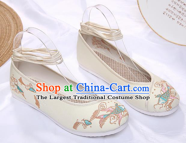 Chinese Traditional Beige Embroidered Carp Shoes Opera Shoes Hanfu Shoes Wedding Shoes for Women