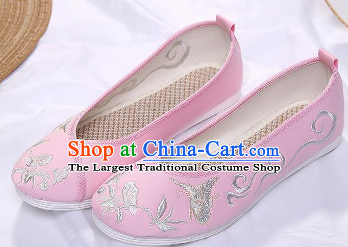 Chinese Traditional Pink Embroidered Butterfly Orchid Shoes Opera Shoes Hanfu Shoes Wedding Shoes for Women