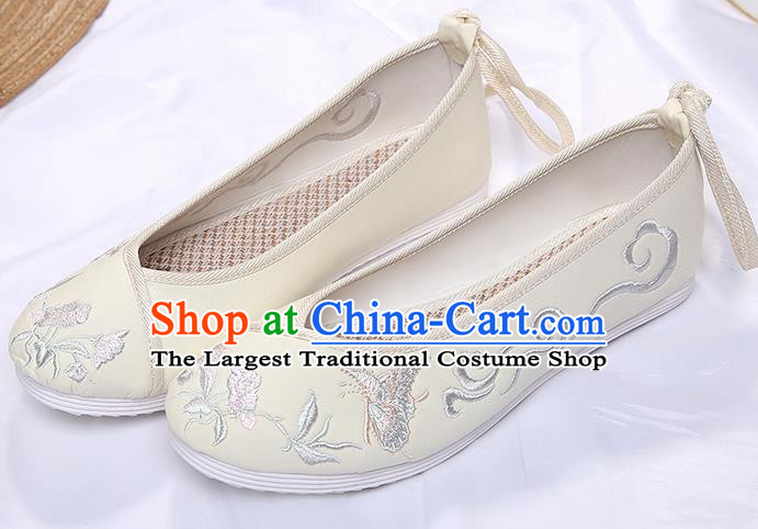 Chinese Traditional Beige Embroidered Butterfly Orchid Shoes Opera Shoes Hanfu Shoes Wedding Shoes for Women