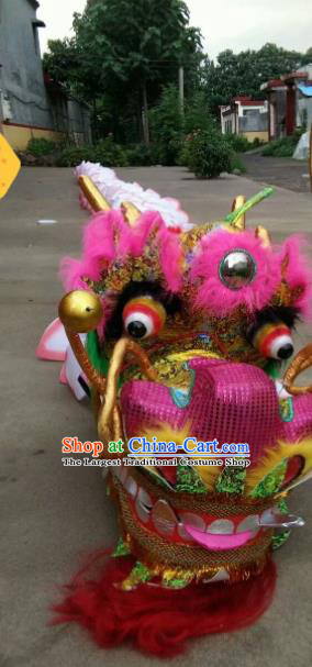 Chinese Traditional Dragon Dance Pink Lotus Dragon Head Lantern Festival Folk Dance Prop