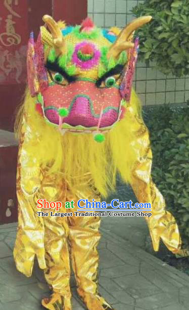 Cosplay Kylin Traditional Chinese New Year Yellow Costume Complete Set