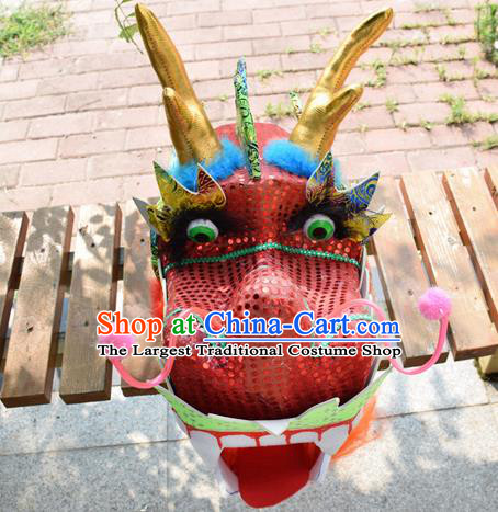 Chinese Traditional Folk Dance Red Dragon Head Lantern Festival Dragon Dance Prop