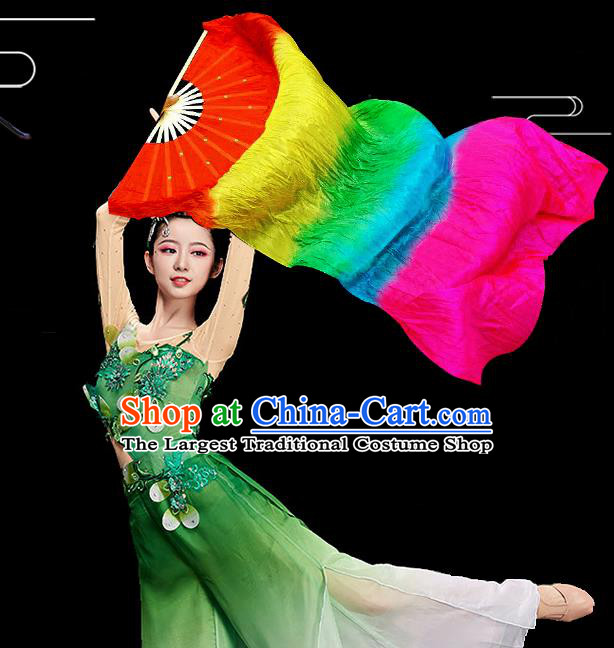 Traditional Chinese Folk Dance Colorful Ribbon Fan Stage Performance Yangko Dance Silk Folding Fan