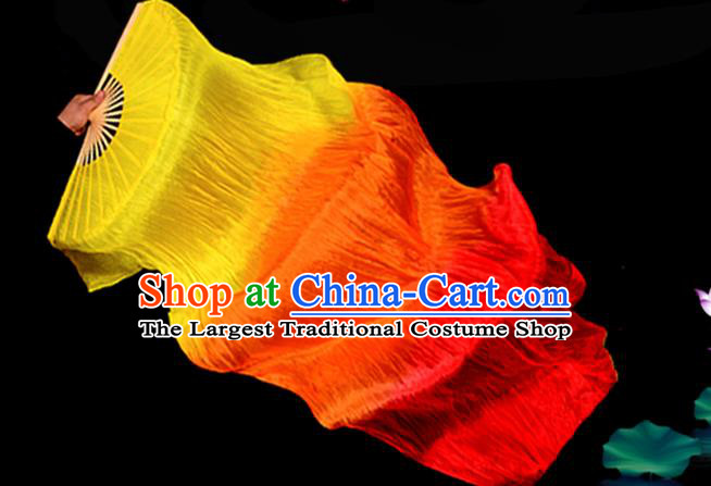Traditional Chinese Folk Dance Gradient Ribbon Fan Stage Performance Yangko Dance Silk Folding Fan