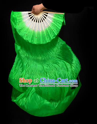 Traditional Chinese Folk Dance Green Ribbon Fan Stage Performance Yangko Dance Silk Folding Fan