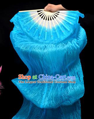 Traditional Chinese Folk Dance Blue Ribbon Fan Stage Performance Yangko Dance Silk Folding Fan