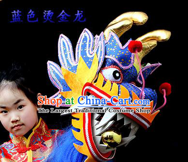 Chinese Traditional Dragon Dance Royalblue Head Lantern Festival Folk Dance Prop Complete Set